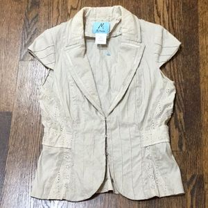 Beige eyelet and pin tuck jacket